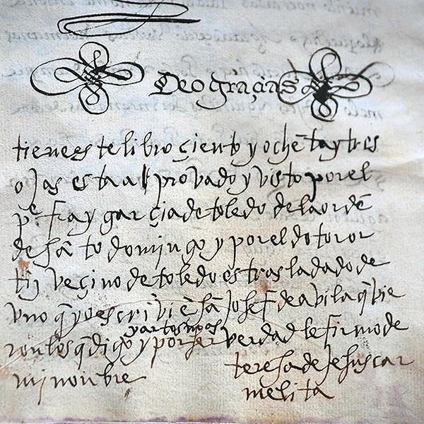 Firma de Santa Teresa en la copia del Camino de Perfección